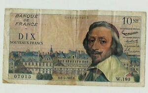 Billet 10 francs France Richelieu 1961 french bank note