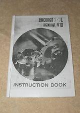 Emcomat 7-7L & Maximat V10 Lathe Manual