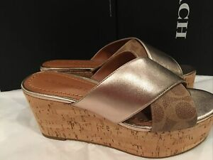 NIB Coach Cross Wedge Slide Signature Mix Leather Wedge Sandals Women's size 6
