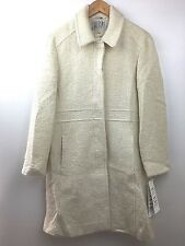 Bill Blass Womens Trench Coat Wool Princess Empire Waist Hidden Button White 12P