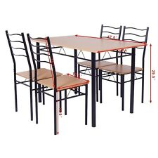 Home 5pcs Wooden Metal Dining Table Sets w/4 Chair Living Room Dinning Furniture