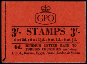 1959 QEII Multiple Crowns Graphite 3s Red Booklet SG M13g