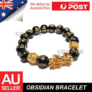 Feng Shui Black Obsidian Bracelet PiXiu Attract Wealth Good Luck Jewellery Gift