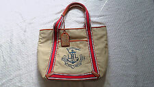 Lauren by Ralph Lauren Tan Americana Anchor Nautical Shopper Tote Bag Free ship