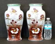 "Pair 1800's Antique Vintage Bristol Glass Victorian 12"" Vase w/ Enameled Flowers"