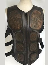 Steampunk Brown Leather Look Metal Body Armour With Cogs M L XL