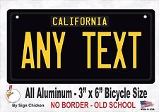 California Black, Personalized Custom License Plate NO BORDER -  BICYCLE 3 X 6