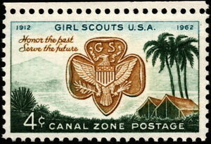 Canal Zone - 1962 - 4 Cents Girl Scouts Badge & Gatun Lake Camp Issue #156 NH