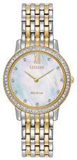 Citizen Eco-Drive Women's Crystal Accent Two-Tone Bracelet 29mm Watch EX1484-57D