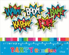 Boy Birthday Party Supplies Superhero Comics Words Cake Candles 5pk Topper Picks
