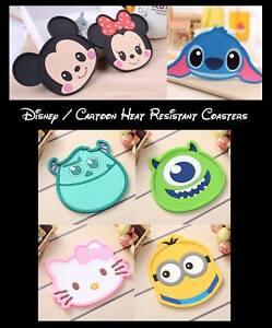 Disney, Stitch, Mickey, Minnie Mouse Heat Resistant Coasters - Fast & Free Post