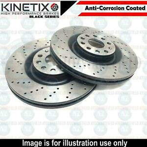 FOR AUDI S4 S5 B9 KINETIX FRONT DRILLED HIGH CARBON BRAKE DISCS PAIR 350mm