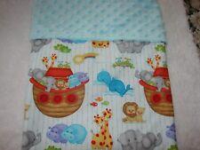 Noah's Ark Cotton Front Blue Minkee Bassinet Crib Blanket Handmade