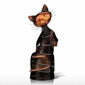 Tooarts Cat Shaped Wine Holder Wine Shelf Metal Sculpture Practical Home Crafts
