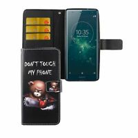 Protective Cover For Phone Sony Xperia XZ2 Bear Don'T Touch Wallet Case