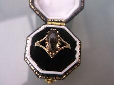 Women's 9ct Gold Ring Vintage Smokey Quartz Stone Size K 1/2 Weight 1.4g Stamped