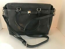 Kate Spade Gray Patent Leather Hand Bag Purse Handles & Strap Bow Silver Accent