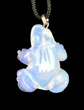 Frog Pendant Opalite Gemstone Pendant Hand Carved Stone Necklace Jewelry