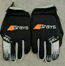 Grays G500 Gel+ Field Hockey Gloves - Size Med (Black&Gray)