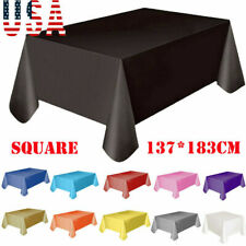 US Large Plastic Rectangle Table Cover Cloth Wipe Clean Party Tablecloth Covers
