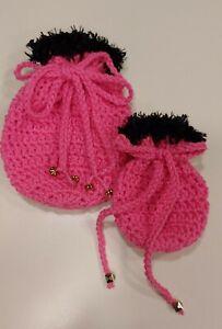 Gift Card Holder Drawstring Pouch Handmade Crochet Wristlet Gift Bag Pink NEW