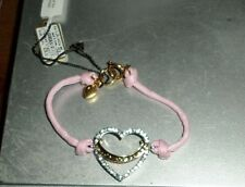 JUICY COUTURE PAVE HEART PINK STRING BRACELET NWT