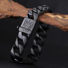 2018 Men Casting Jewelry Stainless steel Black Cuban Curb Chain Bracelet 8.66''