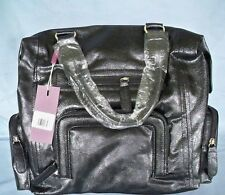 Large Black Leather Look 2 Handled Tote Bag with Pouches