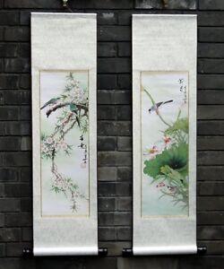"Chinese print painting 2 wall scroll birds flowers 9x36"" gongbi Asian brush art"