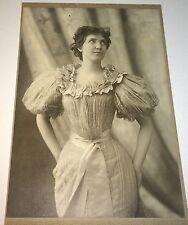 Antique Victorian American Actress Costume Fashion Dress! Nebraska Cabinet Photo