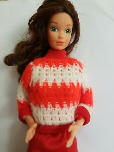 Vintage Barbie Doll Clone Clothing Sweater Red & White Striped Top Hong Kong