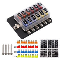 12V 32V 12 Way Blade Fuse Block Box Holder LED Light Circuit Caravan Truck Car