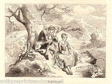 Antique print Ichabod Crane and Katrina Van Tassel 1856