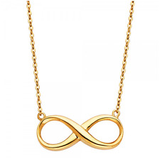 14K Solid Yellow Gold Infinity Pendant Rolo Chain Necklace Set -Love Charm Women
