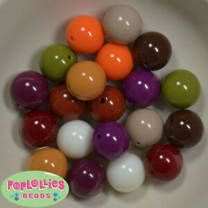 20mm Mixed Color Autumn Acrylic Solid Bubblegum Beads 20pc CHUNKY mix1