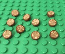 Lego 10 Pieces Reddish Brown 1x1 Round Tile W/ Tree Stump Pattern Bulk Parts Lot