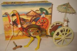 Old German Tin & Plastic Wind Up Ostrich Cart w/ Driver in BOX - WORKS!