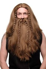 Peluca y Barba Sr. Peluca Pertinente Vikingo Enano Viking Bárbaro Marrón Largo