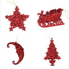 Set 4 Glitter Christmas Tree Hanging Decorations - Santa Tree Star Sleigh - Red
