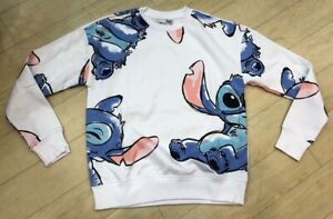 Stitch All Over Printed Disney Blue Sweatshirt Jumper Ladies Primark