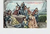 PPC POSTCARD MASSACHUSETTS PLYMOUTH DEPARTURE OF PILGRIMS COPY OF PAINTING IN PI