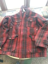 VTG Woolrich Hunting Coat Jacket Mens 38 Red Black Buffalo Plaid Wool USA