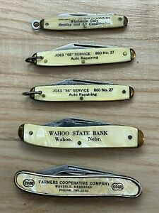 Lot of 5 Vintage Colonial Advertising knives made in USA