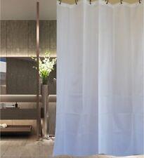Crisp white fabric shower curtain 2m x 2.4m with black hooks