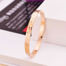 New Stainless Steel 14K Rose Gold Flower Printed Womens Bangle Bracelet Jewelry