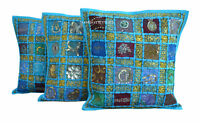 "SET OF 3 TURQUOISE HANDMADE 16X16"" ZARI WORK CUSHION COVER ETHNIC DECOR ART E3"