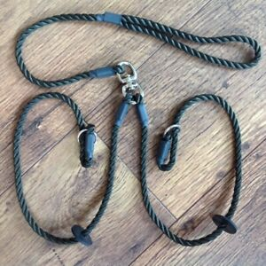 HANDMADE DOUBLE/ BRACE DOG TRAINING/PET SLIP LEAD WITH SWIVEL NEW. 8 MM