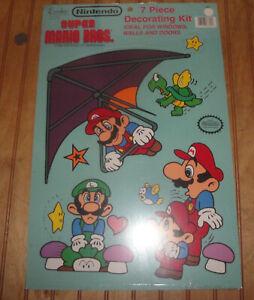 Vintage 1989 Nintendo Super Mario Bros 7 Piece Walls Windows Doors Decorting Set