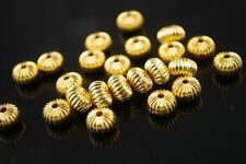 20pcs10x6mm Rondelle Metal Alloy Big Hole Finding Loose Spacer Beads Charm Gold