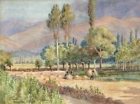 HAMADAN IRAN LANDSCAPE Antique Watercolour Painting 1918 INDISTINCTLY SIGNED